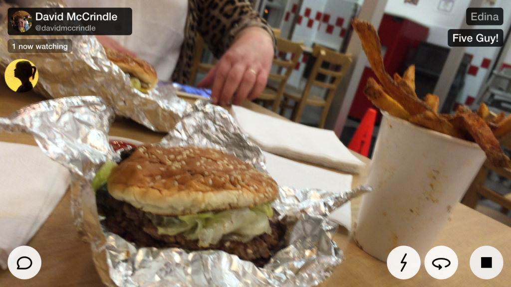 Five Guys. Oversharing and overeating.